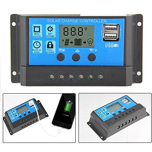 24 Volt 30 Amp (KOBWA 12 V / 24 V 20A Günstige Solar Ladegerät HQST Solar Controller Energie Controller mit USB Port LCD Display Überlastungsschutz)