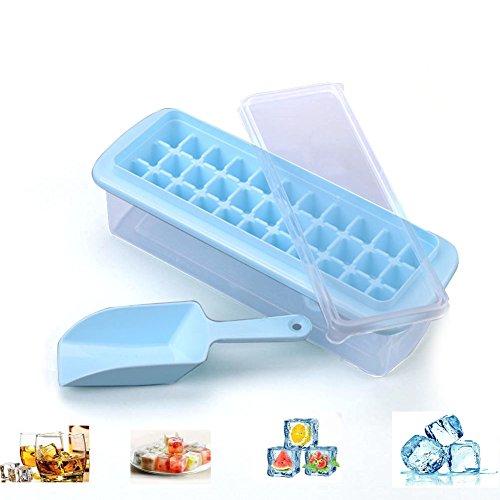 Eiswürfelform, Apark Silikon Eiswuerfel Form Eiswuerfelbehaelter Mit Deckel Ice Tray Ice Cube 33-Fach, Kühl Aufbewahren, Blau