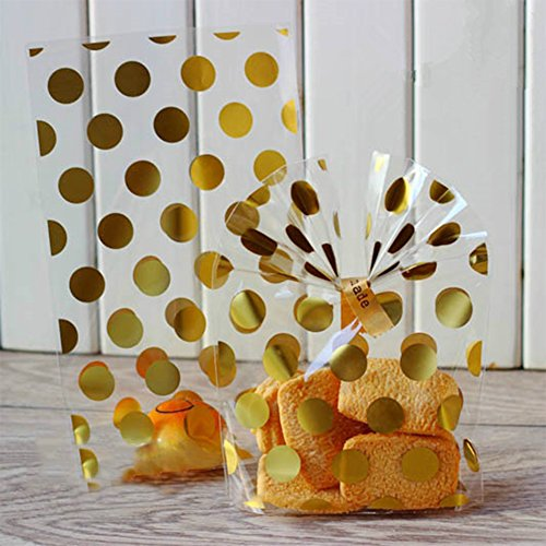 LQZ XXL 100 Stk Transparent Bodenbeutel Kekstüten Klar Gebäcktüten Weihnachtstüten Geschenktüte Weihnachtsbeutel Keksbeutel Gold Punkt 13x21 cm