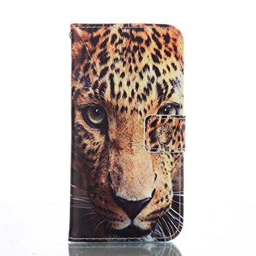 SainCat Cover iPhone 5 / 5s / SE,Fashion Design Dipinto Stand Intelligente Pelle PU Flip Stare Supporto Cover Case Caso,Elegante Pieghevole Capovolgere Leather Copertinat Caso Con Porta Carte Di Credi Leopardo