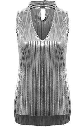 Fantasia Boutique Damen ärmellos Halsband V Ausschnitt Plissiert Folie Metallisch Schlüsselloch Hoch Niedriges Top - Silbern, 36 (Folie Elasthan)