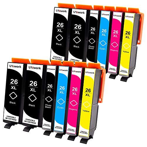 12 Druckerpatronen Uniwork Kompatibel für Epson 26 26XL für Epson Expression Premium XP-510 XP-520 XP-600 XP-605 XP-610 XP-615 XP-620 XP-625 XP-700 XP-720 XP-710 XP-800 XP-810 XP-820