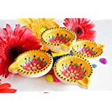 Sparkle CnC's Earthern Diyas For Gifting Decorated Like A Jewel In Line With Indian Tradition.Bloomig Flower Shaped Set Of 4 Pieces.Each Diyas Size 2.5 X2.5 Inches