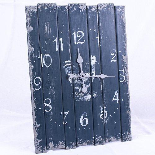 Orologio a parete Shabby Chic grigio blu - disegno gallo