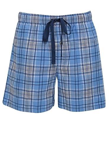 Cyberjammies 6087 Men's Charlie Navy Blue Check Cotton Pyjama Pajama Pyjama Short Medium