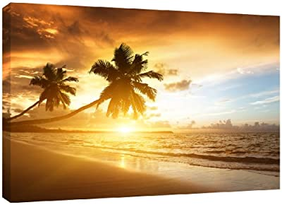 MOOL Large 32 x 22-inch Caribbean Sunset Beach Canvas Wall Art Print Hand Stretched on a Wooden Frame with Giclee Waterproof Varnish Finish Ready to Hang