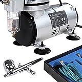 Timbertech Airbrush-Set mit Kompressor, Double Action Airbrush Pistole und Zubehör (Düsen, Schlauch etc..) - 2