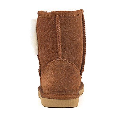 Shenduo - Bottes fille & garçon cuir de mouton, Boots fourrées colorées doublure chaude en laine Mixte enfant D8752 Marron