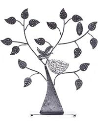 Songmics Expositor de pendientes anillos pulseras Soporte para joyería Diseño de árbol Plateado JDS051