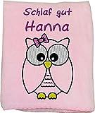 Wolimbo Flausch Babydecke mit Ihrem Wunsch-Namen und Eulen Motiv - personalisierte / individuelle Geschenke für Babys und Kinder zur Geburt, Taufe und Geburtstag - Farbe: rosa - 80x90 cm für Mädchen und Jungen