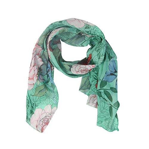 Zwillingsherz Seiden-Tuch Damen Blumen Print - Made in Italy - Eleganter Sommer-Schal für Frauen - Hochwertiges Seidentuch/Seidenschal - Halstuch und Chiffon-Stola Dezent Stilvoll grün (Seide Schal Grün)