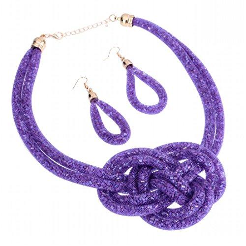 Modeschmuck Lila Billig (Jerollin Damen suess Halskette aus lila Netz berechnen bling Kristallen Perlen Knoten Kette Statement Ohrringe)