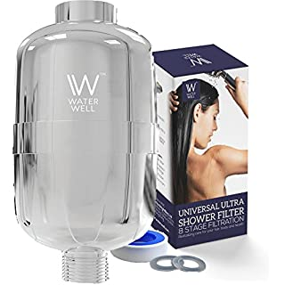 WaterWell™ Shower Filter 95% Removal of Chlorine, 8 Stage Replaceable Cartridge, Remove Chlorine & Water Impurities for Healthier Hair and Skin. No Tools Required.