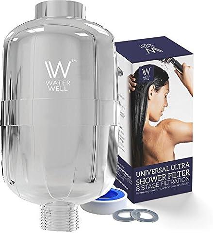 Waterwell universel 8Stage de douche Filter- Sortie haute pression, portatif ou Combo Tête pour réduire le chlore et l'eau les impuretés