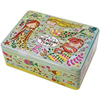 Lata de almacenamiento rectangular con purpurina para niños, diseño de sirena
