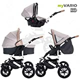 Bebebi | Modello myVARIO | 3 in 1 passeggino con carrozzina modulari combinabili | ruote in gomma dura - myHoney