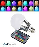 Ideal Products LED-Lampe mit 16 Farben die sich mit einer kleinen Fernbedienung ändern (Kartengröße), Leistung 10W (Äquivalent zu einer Glühbirne mit 40-60W) und mit Schraubanschluss E27 versehen. Schafft eine angenehme romantische Atmosphäre im Haus mit einem einfachen