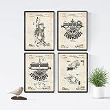 Nacnic Vintage - Pack de 4 láminas con Patentes de MAQUINAS DE Escribir. Set de Posters con...