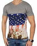 JACK & JONES Herren T-Shirt jjorBOLT Fotoprint Fotoaufdruck Regular Fit (M, Grau (Light Grey Melange Fit:REG))
