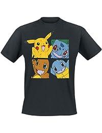 T-shirt Pokemon personnages anime coton noir