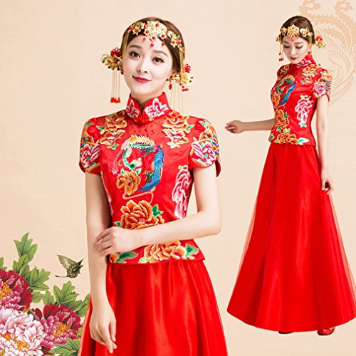 QP Hochzeitskleid Kleid Foto von Braut chinesischen Braut Kleid Kleid Hochzeitskleid, Drache und Phoenix, UNE, L (Kostüm Bleu Gris)