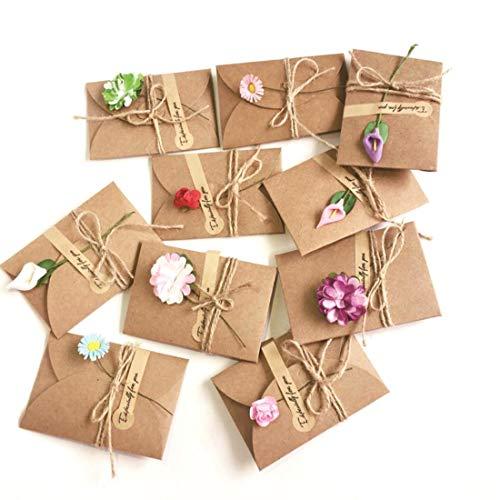 Rolin Roly 10 Stück Grußkarte Set Blanko Handgemachtes Retro Kraftpapier Danken Ihnen Karten mit Getrockneten Blumen, Aufkleber und Jute Twine, Greeting Cards Zufällige Lieferung