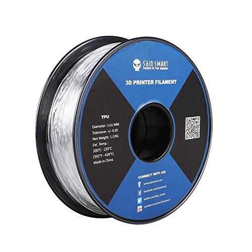 SainSmart - Filamento de impresión 3D de TPU flexible de 3,00 mm, precisión dimensional +/- 0,05 mm, bobina de 1 kg