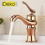 iDeko® Robinet Mitigeur lavabo style vintage robinet salle de bain en laiton avec Flexible x 2, Or Rose