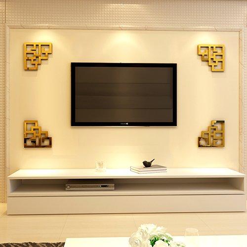 JWQT Chinesische Grenze dreidimensionale Acryl spiegel Wand Wand-TV Wohnwand Grenze moderne chinesische Wohnzimmer Eingang Aufkleber, 340 Preis von 4 Rahmen in Gruppe-1 der Chinesischen Gold frame, Klein (Kleinen Kreis Anzahl Aufkleber)