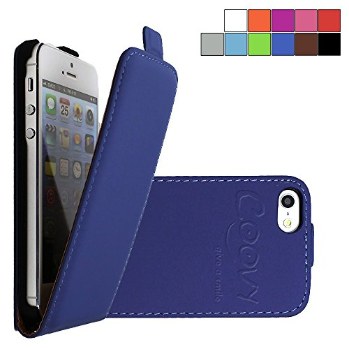 COOVY® SLIM FLIP Cover Case Coque Housse Étui de prougeection fin à clapet pour APPLE iPhone 6/6s avec film de prougeection d'écran Couleur blanc bleu foncé