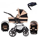 Bebebi London | ISOFIX Basis & Autositz | Hartgummireifen | 4 in 1 Kinderwagen Set | Farbe: St. Paul's