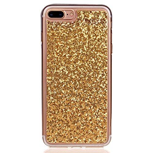 Coque iPhone 7 Plus, iPhone 7 Plus Coque en Silicone Glitter Bling Etui Housse, Ukayfe Bling Bling Gliter Sparkle Coque iPhone 7 Plus Paillette Bling TPU Coque pour Apple iPhone 7 Plus (5.5 pouces) Ul Or