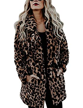 iBaste Largo Abrigos Pelo Sintético Mujer Chaqueta de Leopardo para Invierno