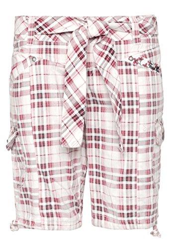 Fresh Made Damen Bermuda-Shorts kariert | Bequeme kurze Hose aus reiner Baumwolle white S