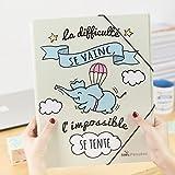 Nos Pensées - Trieur conçu avec des phrases et des dessins motivants (La difficulté se vainc, l'impossible se tente) Cadeau original pour une amie