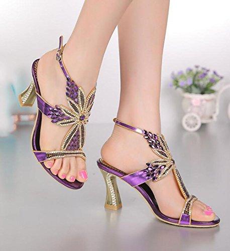 SYYAN Damen Leder Strasssteine Durchbohrt Handgefertigt Pumpe Kleid Sandalen Bankett Purple