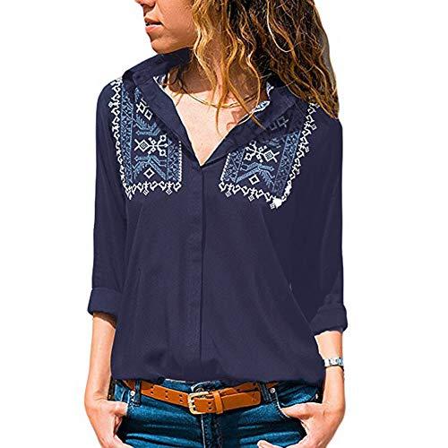 TEBAISE Damen Weihnachten Ausverkauf damen Büro Oktoberfest Party offenen Kragen Elegante Formale Casual Revers Neck T-Shirt Langarm Schnalle Bluse Tops