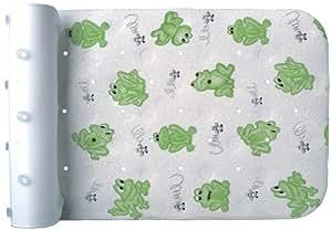 BADEWANNENEINLAGE BADEWANNENMATTE WANNENEINLAGE ANTIRUTSCHMATTE 36cm x 72cm grüne Frösche mit NACKENPOLSTER als Set Sicherheitseinlage bathtub insert