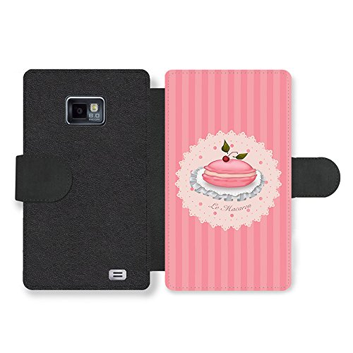 Micro Gorilla Le Macaron with Cherry French Pink Illustration Faux Ledertasche Hülle fürSamsung Galaxy S2 -