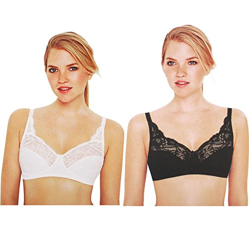 Ladies-Body-Bliss-Non-Wired-Bra-Jacquard-Lace-Unpadded-Cups-in-Black-or-White