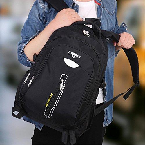 Multifunktions-Wandern Rucksack Erholung Portable wasserdicht Rucksack Klettern Reisen Riding Bergsteigen Tasche für Männer Frauen Studenten lila schwarz 52 x 36 x 18 cm Black
