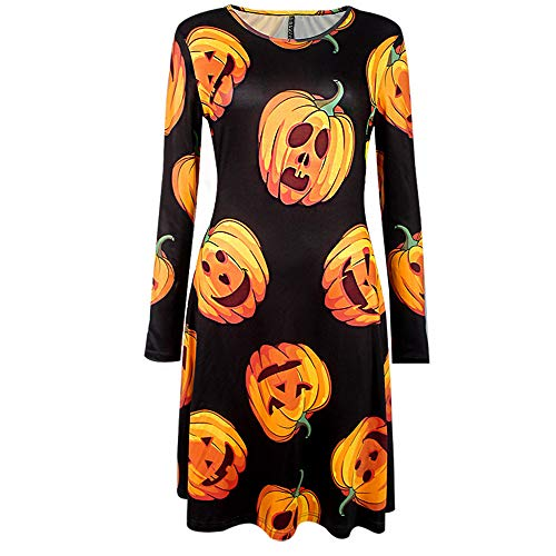 OverDose Damen Herbst Karneval Stil Frauen Langarm Kürbisse Ghost Horrible Print Halloween Abend Prom Schlank Elegant Kostüm Swing Kleid(F-Schwarz,S)