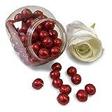 FLAIRELLE Vollmilch Schokokugeln in Folie, Rot, 500g, zarte Bonbon Kugeln, Schokoperlen Hochzeit oder als Gastgeschenke, Give Aways, Weihnachts-Schokolade, Lipstick