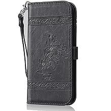 Para HTC One M8 funda, (negro) Patrón de cera tipo de aceite retro cuero repujado de la PU, Función de Soporte Billetera con Tapa para Tarjetas correa de mano soporte para teléfono