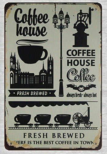 Garden Club Teller (JIA KOAH s Coffee Ho Fresh Brewed Garden Farmhop Blechschild Metall dekorative Wand Poster Souvenir)