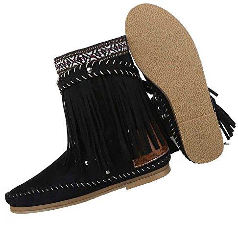 Damen Stiefeletten Schuhe Boots Mit Fransen Schwarz 35 36 37 38 39 40 41 Schwarz