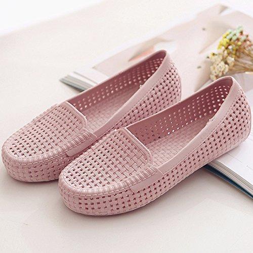 XY&GKSommer Strand Erbsen Mom Sandalen atmungsaktiv Krankenschwestern Loch Sandalen flache Sandalen, komfortabel und schön 38 Pink