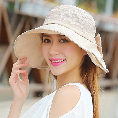 Chapeau de soleil d'été femelle été chapeau de soleil Sunscreen tissu de dentelle chapeau pliable loisir de plein air Anti-UV bob Pour les voyages de plage sortants ( Couleur : Kaki ) Kaki
