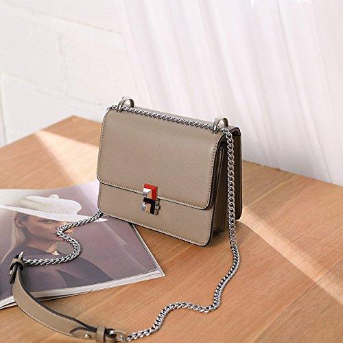 Handtaschen Mode Kette Kleine Quadratische Paket Einfache Tasche Handtasche Schulter Messenger Bag Grau