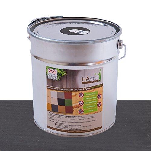 Bio Holzschutz farbig Schieferngrau Schutzlasur HAresil Color 5kg Eimer Wetterschutzfarbe Dauerschutzfarbe matt Holzwurmfrei,Pilzbekämpfung für Innen und Außen (Schieferngrau)